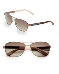 Marc By Marc Jacobs | Metallic 57mm, Two Toned Rectangular Aviator Sunglasses | Lyst
