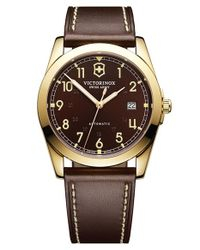 Victorinox - Brown 'infantry' Automatic Leather Strap Watch for Men - Lyst