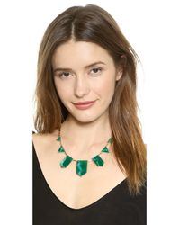 House of Harlow 1960 Classic Station Necklace - Green/Gold