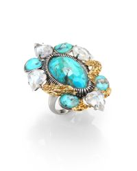 Alexis Bittar | Blue Elements Cholulian Turquoise, White Quartz & Chrysoprase Olmeca Cluster Ring | Lyst