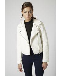 TOPSHOP White Petite Ultimate Faux Leather Biker Jacket