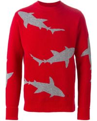 Christopher Raeburn - Red Shark Intarsia Sweater for Men - Lyst
