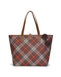 Ralph Lauren | Brown Plaid Faux-leather Tote | Lyst