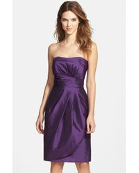 Alfred Sung - Purple Wrapped Strapless Satin Dress - Lyst