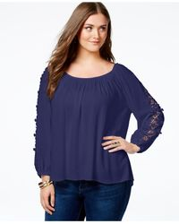 Soprano | Blue Plus Size Crochet-trim Top | Lyst