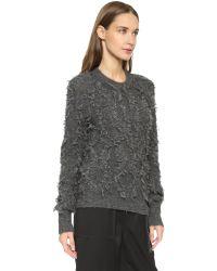 3.1 Phillip Lim Gray Long-sleeve Fringe Pullover Sweater