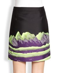 Alexander Wang - Black Space Mountain-Print Jacquard Pencil Skirt - Lyst
