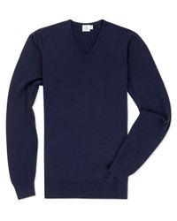 Sunspel - Blue Men's Fine Merino V-neck Jumper for Men - Lyst
