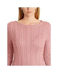 Ralph Lauren - Pink Cable-knit Cotton Sweater - Lyst