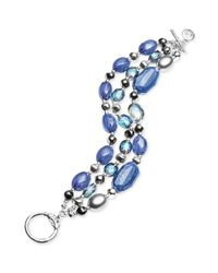 Jones New York - Silvertone Blue Bead Threerow Toggle Bracelet - Lyst