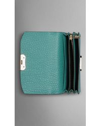 Burberry - Blue Small Signature Grain Leather Clutch Bag With Chain - Lyst
