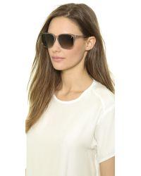 Saint Laurent - Gray Slim Square Sunglasses - Dark Havanabrown Gradient - Lyst