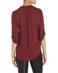 Lush - Red Tab Sleeve Chiffon Top - Lyst