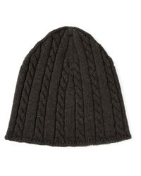 ba2d085f671 Dolce   Gabbana Cable Knit Beanie in Gray for Men - Lyst