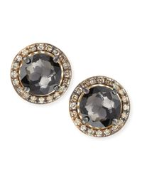 Suzanne Kalan Metallic 14K Yellow Gold Black Night Quartz & Champagne Diamond Stud Earrings
