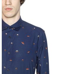 KENZO - Blue Ufo Printed Cotton Poplin Shirt for Men - Lyst