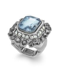 INC International Concepts - Blue Silvertone Black Diamond Crystal Stretch Ring - Lyst