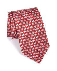 Ferragamo Red Lion Print Silk Tie for men