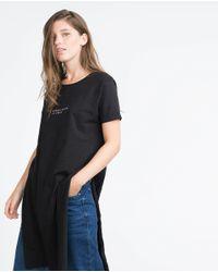 Zara | Black Long Text T-shirt | Lyst