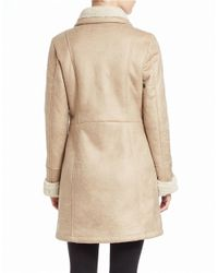 7 For All Mankind Natural Faux Shearling-trimmed Faux Suede Coat