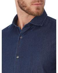 Michael Kors Blue Plain Slim Fit Long Sleeve Classic Collar Shirt for men