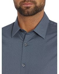 Michael Kors - Blue Pattern Slim Fit Long Sleeve Button Down Shirt for Men - Lyst