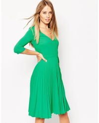 ASOS Green Pleated Midi Dress In Crepe