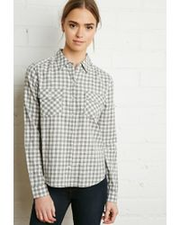 Forever 21 - Gray Gingham Plaid Shirt - Lyst