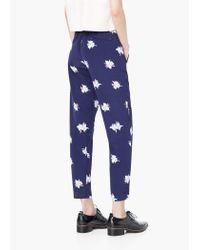 Mango | Blue Floral Print Trousers | Lyst