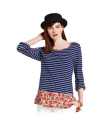 Maison Jules - Blue Striped Floralprint Top - Lyst
