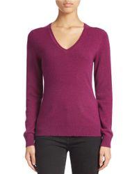 Lord & Taylor Purple Plus Basic V-neck Cashmere Sweater