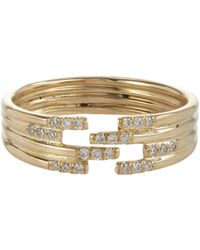 Jennie Kwon | Metallic Pavé Diamond & Gold Stacked Cutout Ring | Lyst