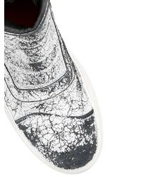 BB Bruno Bordese Black Crackled Leather High Top Sneakers for men