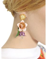 Dolce & Gabbana Pink Hand Painted Gold Plated Earrings