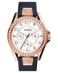 Fossil | Metallic 'riley' Chronograph Leather Strap Watch | Lyst