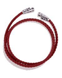 David Yurman | Chevron Wrap Bracelet Red Leather for Men | Lyst