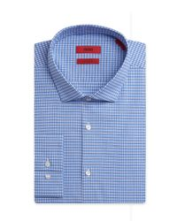 HUGO | Blue 'eastonx' | Slim Fit, Modified Spread Collar Stretch Cotton Dress Shirt for Men | Lyst