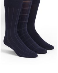 Calvin Klein | Blue Three-pack Plaid And Striped Socks for Men | Lyst