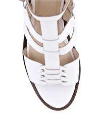 Elliott Lucca | White Lena Leather Block Heel Sandals | Lyst
