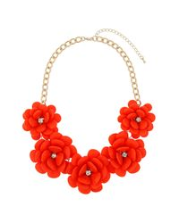 TOPSHOP - Red Large Coral Flower Necklace - Lyst