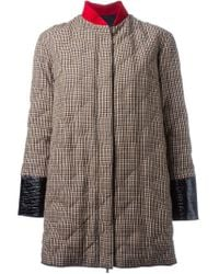Moncler Gamme Rouge - Brown Panelled Padded Coat - Lyst