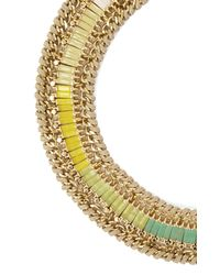 BCBGMAXAZRIA | Metallic Braided Baguette Stone Necklace | Lyst