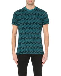 Paul Smith | Green Zig-zag Cotton T-shirt for Men | Lyst