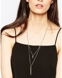 Pieces - Metallic Olissa Necklace - Lyst