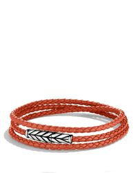 David Yurman - Metallic Chevron Triple-Wrap Bracelet In Orange for Men - Lyst