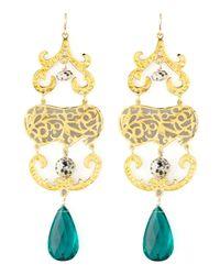 Devon Leigh Blue Quartz & Jasper Chandelier Earrings