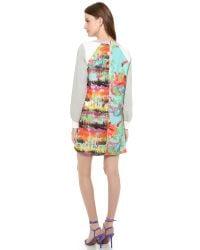 MILLY Multicolor Brushstroke-Print Racerback Tank Dress