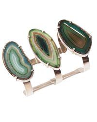 Isabel Englebert - Multicolor Earth Green Agatha Cuff Silver - Lyst