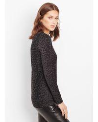 VINCE | Black Leopard Print Long Sleeve Crew Neck Tee | Lyst