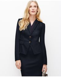Ann Taylor | Blue Cotton Sateen Two Button Jacket | Lyst